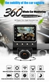X360 Car DVR Dash Camera 1080P 360 Degree View Angle Dashcam Video Recorder Blac