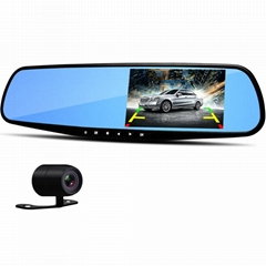 "4.3"" Rearview Mirror 1080P Car DVR Dual Lens Video Recorder Dash Cam"