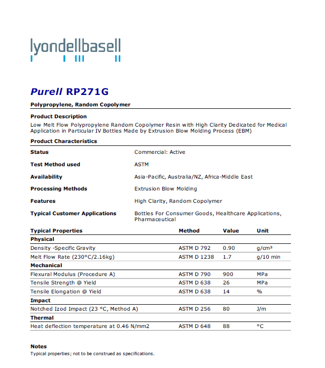 Healthcare PP PURELL RP271G,extrusion applications, high