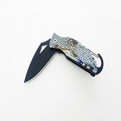 帶有火石條和登山扣的實用露營折疊口袋刀