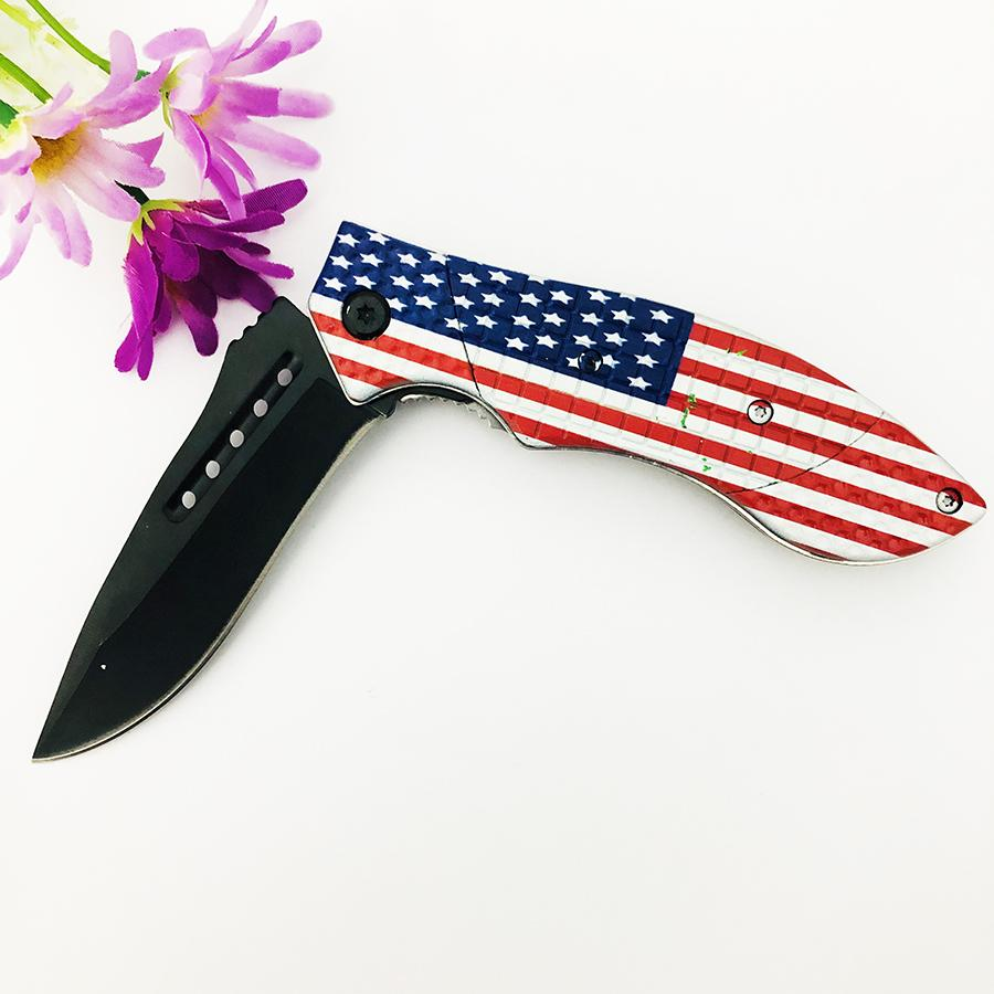 USA Flag handle Survival tool stainless steel folding knife 1