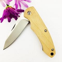 户外不锈钢木柄折叠刀