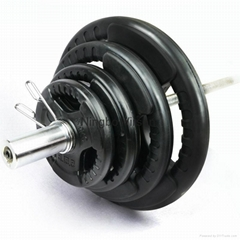 rubber coated regular bumper plates with three handle holes