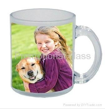 350ml Sublimation photo  glass mug  with handle 3