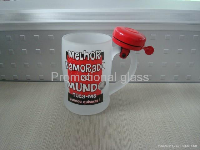 Outside frosted glass beer  mug with bell  3