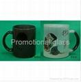 11oz balck color change glass mug