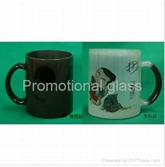 11oz balck color change glass mug