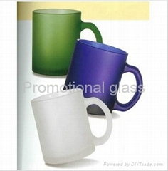 Frosted glass mug with handle glass mug