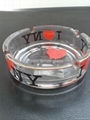 Glass ashtray with decal