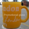 Sprayed color coating and  baked glass mugs with handle 2