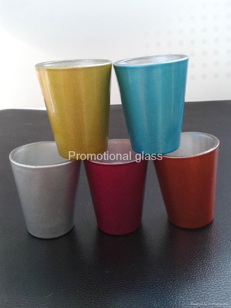 color coating glass mug  ,promotional shot glass mug 1