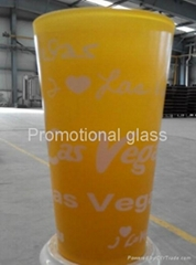 color coating glass mug , promotional glass mug