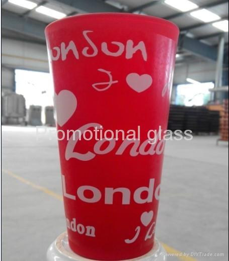 color coating glass mug , promotional glass mug 2