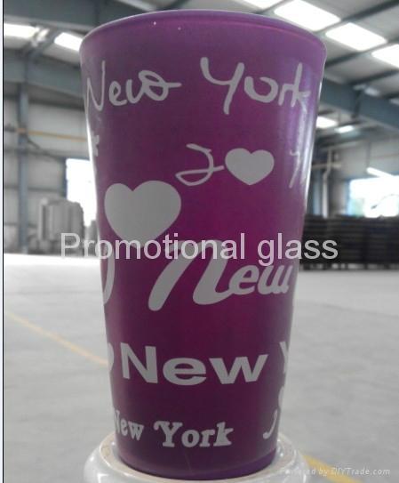 color coating glass mug , promotional glass mug 3