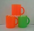 11OZ Sprayed  glass mug with handle 2