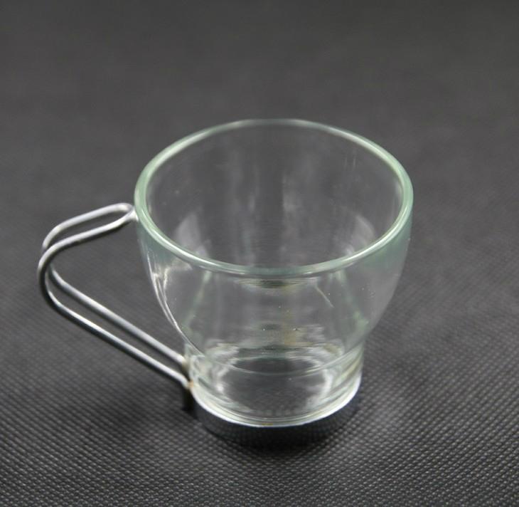 Glass Coffee Mug with stainless steel handle 1