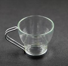 Glass Coffee Mug with stainless steel handle