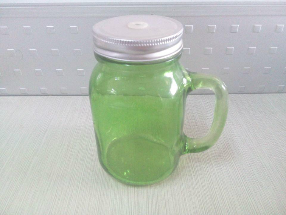colored mason jar,drinking glass jar with handle 1