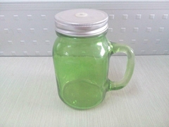 colored mason jar,drinking glass jar with handle