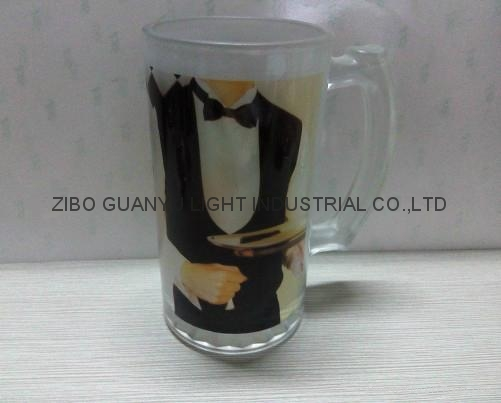 sublimation glass beer stein with handle 4
