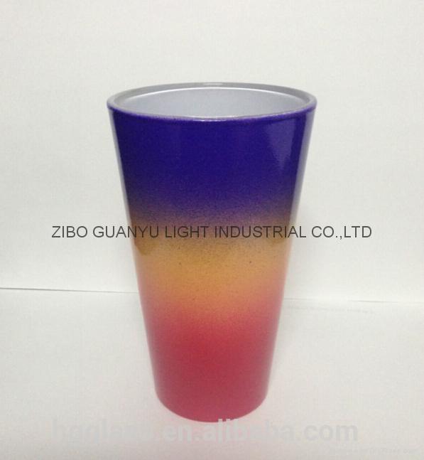 rainbow color glass mug 1