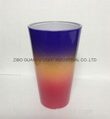 rainbow color glass mug