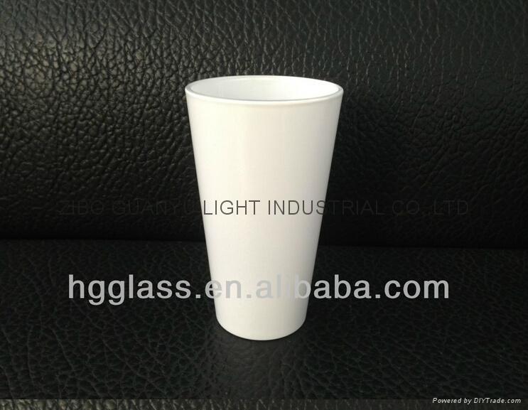 16oz Sublimation White glass mug glassware 1
