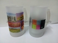 Inside clear and Outside frosted sublimation glass beer mug 2