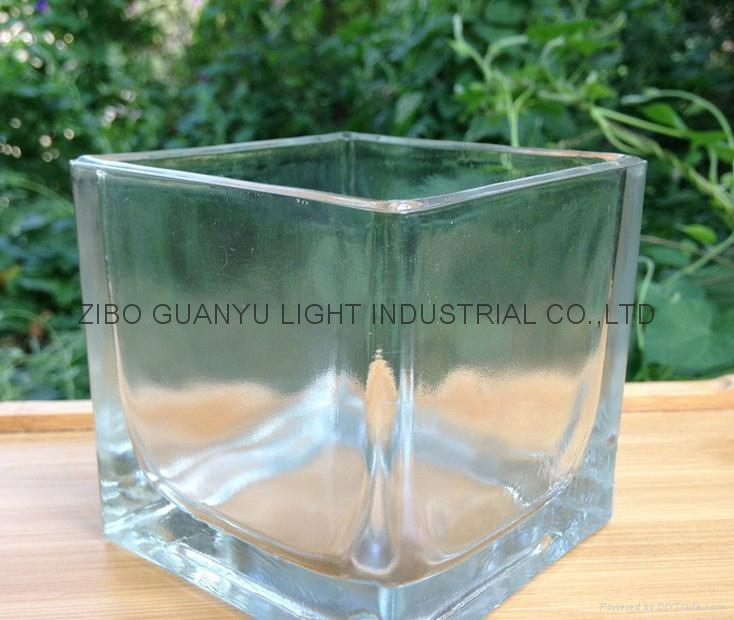 Square shaped glass candle holder 5