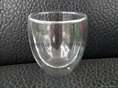 Double wall glass mug without handle coffee mug