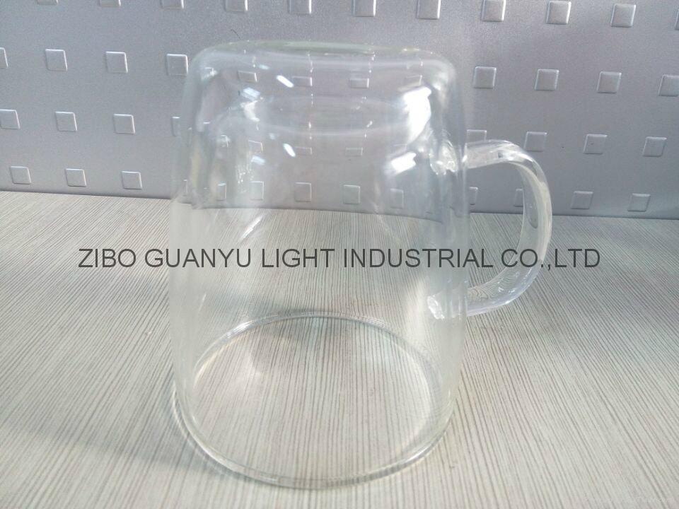 300ml Double wall Glass Mug With Handle,heat-resistant 3