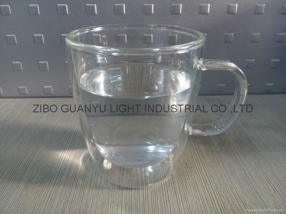 300ml Double wall Glass Mug With Handle,heat-resistant 1