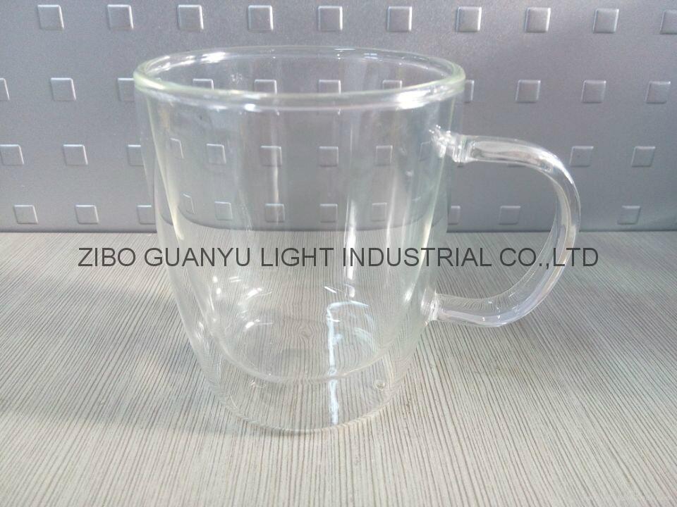 300ml Double wall Glass Mug With Handle,heat-resistant 2