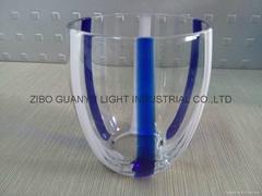 360ml  double color  glass mug