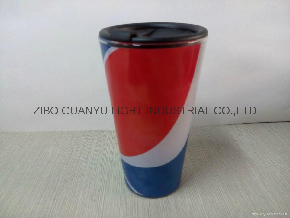 16OZ Sublimation glass mug with plastic  cover