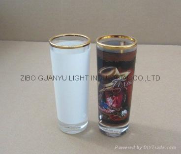 sublimation 2.5oz shot glass,golden rim 3