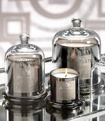 new design bell candle jar,electroplate glass candle jar