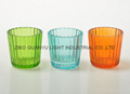 colored glass candle holder