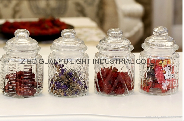 280ml glass candy jar with glass dome lid 1