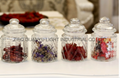 280ml glass candy jar with glass dome