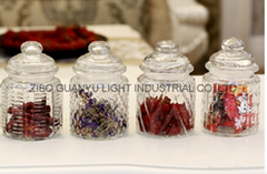 280ml glass candy jar with glass dome lid