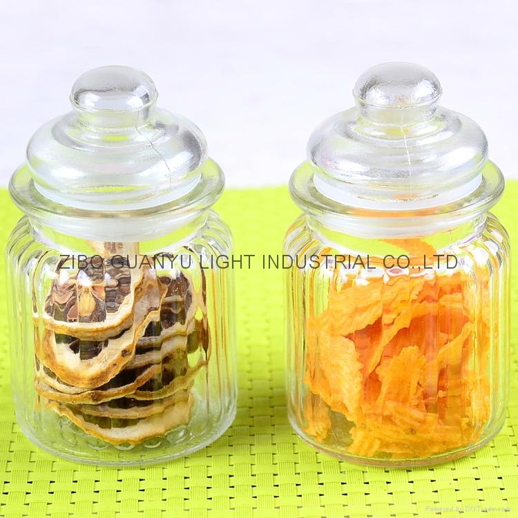 280ml glass candy jar with glass dome lid 3
