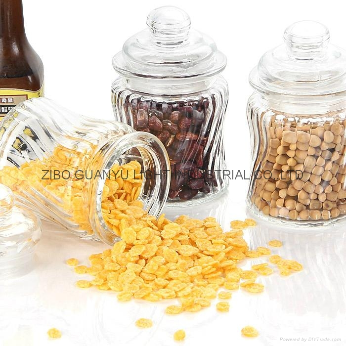 280ml glass candy jar with glass dome lid 2
