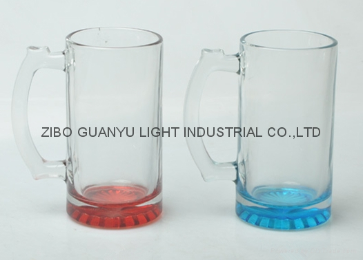 16oz beer glass mug with colored bottom,beer stein 1