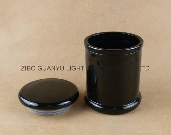 black glass candle jar,12oz metro jar 2