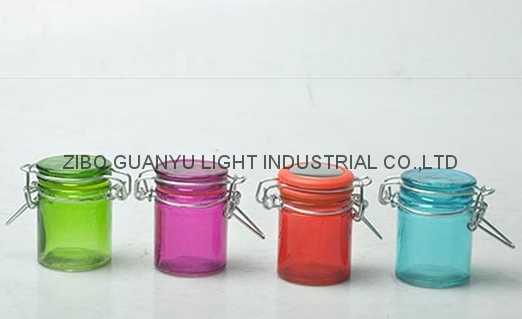 colored mini glass jar with clip top,40ml 1