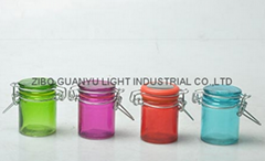 colored mini glass jar with clip top,40ml