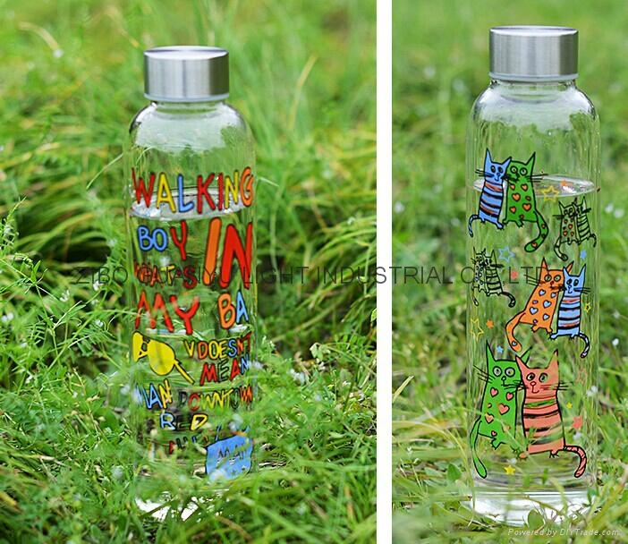 sublimation glass bottle with ss lid,sport glass bottle 4