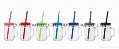 16oz drinking glass mason mug with color lid and straw