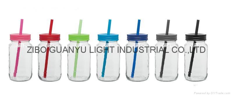 25oz sublimation drinking glass jar with straw 1